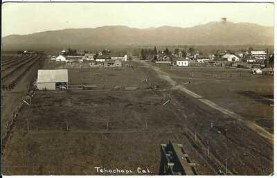 TEHACHAPI, CAL. ~ Bird's Eye View ~ RPPC ~  Kern County, California