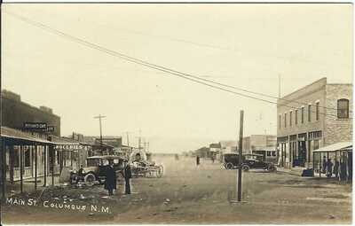 Main St., COLUMBUS, N.M. ~ Luna County, New Mexico ~ RPPC ~ Business Signs