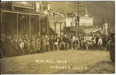 Side Hill Race, WARDNER, IDAHO, July 5 ~ Shoshone County ~ Real Photo Postcard