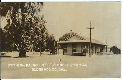 Southern Pacific Depot, SHINGLE SPRINGS; El Dorado Co., CAL. ~ c.1916 ~ RPPC