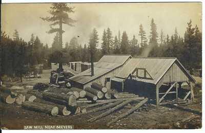Saw Mill Near MEYERS, CAL. ~ El Dorado County, California ~ RPPC ~ Lake Tahoe