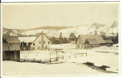 MEYERS, CAL. ~ Town View with Snow ~ RPPC ~ El Dorado County ~ Lake Tahoe