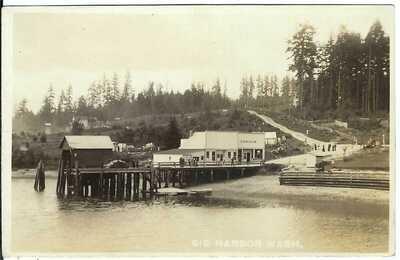 GIG HARBOR, WASH. ~ Waterfront Scene ~ Pierce County, Washington ~ RPPC