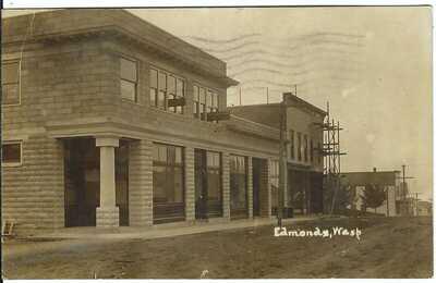 EDMONS, WASH. ~ c.1908 ~ Street Scene ~ RPPC ~ Snohomish County, Washington
