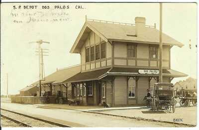 S.P. Depot, DOS PALOS, CAL. ~ c.1911 ~ Merced County, California ~ RPPC