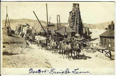 Desert Freight Team, SEARCHLIGHT, NEV. ~ c.1908 ~ RPPC ~ Clark County, Nevada