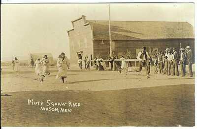 Piute (Paiute) Squaw Race, MASON, NEV. ~ Lyon County, Nevada ~ RPPC