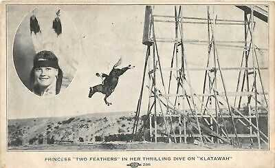H96/ Native American Indian Postcard Princess Two Feathers Horse Dive174