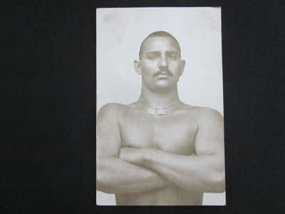 1910 GONGA Deaf & Mute India Professional Wrestler Champion Real Photo Postcard
