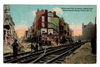 PA Pennsylvania Pittsburgh Wylie & Fifth Avenue Railroad Train Tracks Postcard