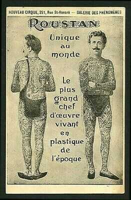 French 1910 TATTOO ROUSTAN Tattooed Man With BLUE SKIN Paris Ad ~ VASTA Archive