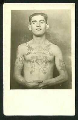 American 1920s TATTOOED Man James Fingers Reese RPPC TATTOOS ~ VASTA Archive