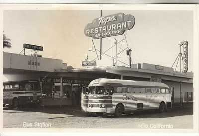 RPPC Indio CA Riverside CO Cafe Greyhound Bus Station near Palm Springs Roadside