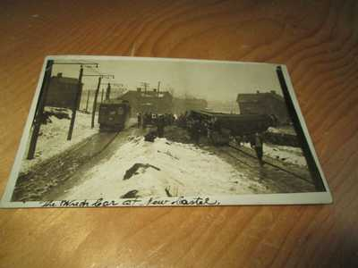 Harmony Shortline -Wreck - Harmony, Pa - Real Photo - Franklin Stamp