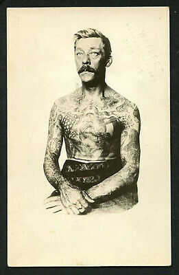 American 1920s Real Photo PC TATTOOED Man Waters TATTOO Supplies ~ VASTA Archive