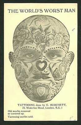 English 1930s GEORGE BURCHETT Postcard + ART OF TATTOOING Booklet VASTA Archive