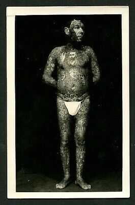 German 1930s Unknown TATTOOED Man Circus SIDESHOW Body Suit ~ VASTA Archive