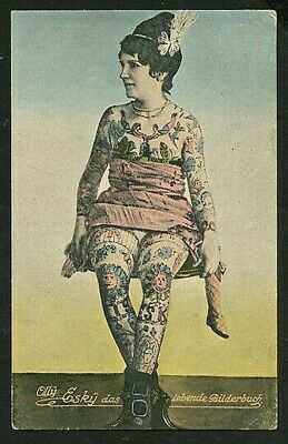 German 1915 Tattooed Woman OLLY ESKY Color Collotype TATTOO ~ VASTA Archive