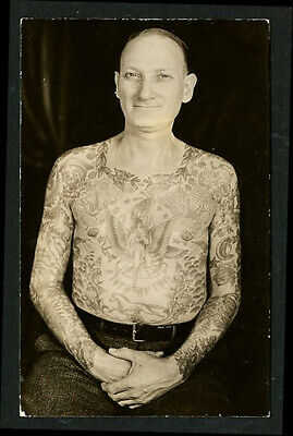 American 2 Photos 1920s Fred Smokey Clark Front/Back Tattoo RPPC ~ VASTA Archive