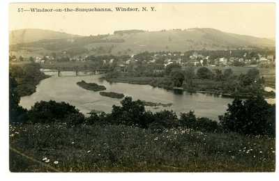 Windsor NY -BIRDSEYE VIEW OF VILLAGE- C.H. Phelps RPPC Postcard Broome County