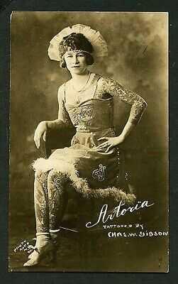 American 1920 ARTORIA GIBBONS Tattooed Woman Circus Sideshow RPPC VASTA Archive