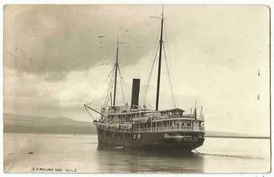 Hilo Hawaii HI ~ Excursion Steamer Steamship S.S. Mauna Kea RPPC Real Photo 1924