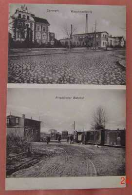 Germany Jarmen 2 panel postcard w Bahnhof railwaystation  unused c 1910