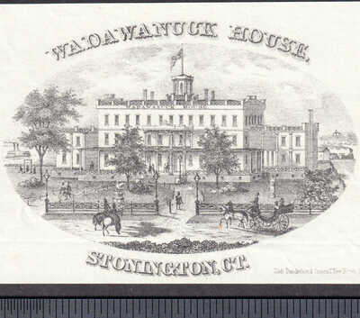Stonington CT Wadawanuck House Hotel circa 1869 Train Ship Victorian Trade Card