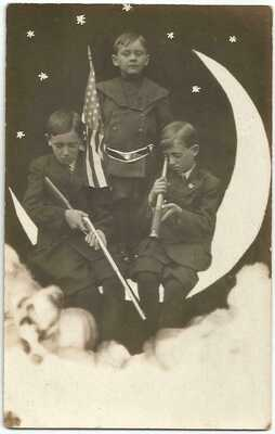 The Moon & Fritz Brothers with BB Gun & Telescope RPPC Real Photo c.1918