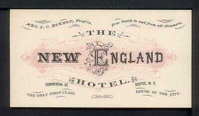 1885 Seattle W.T. THE NEW ENGLAND HOTEL Advertising Card Washington Territory