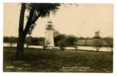 RPPC Fabyan Estate Geneva IL Riverbank Lighthouse Windmill Batavia Fox River