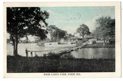 IL Illinois Paris Twin Lakes Park Boat Dock Edgar County Postcard