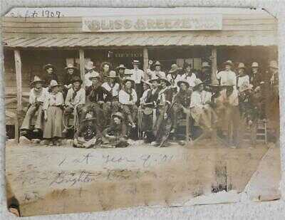 September 1907 Bliss Breeze, Bliss Oklahoma 1st year of 101 Ranch Antique Photo
