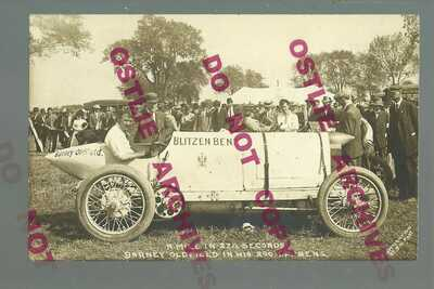 Springfield ILLINOIS RPPC '10 BARNEY OLDFIELD Posing RACE CAR Blitzen Benz RACER
