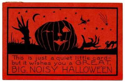 Great Big Noisy Hallowe'en Halloween Silhouette Orange Whitney Made Postcard