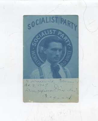 1907 Paterson NJ cyanotype photo postcard, Socialist Party, political,politics