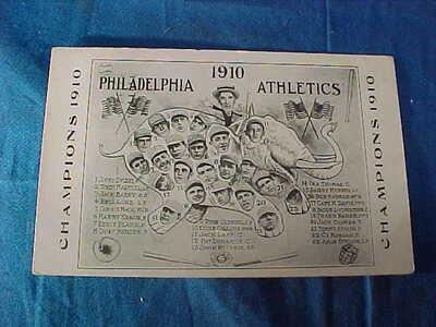 1910 PHILADELPHIA A's Baseball WORLD SERIES CHAMPS Illustrated POSTCARD Players