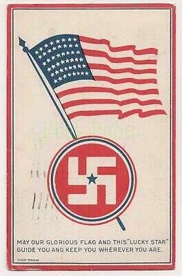 """Glorious American Flag with """"Lucky Star"""" Swastika to Guide & Keep You, 1918"""