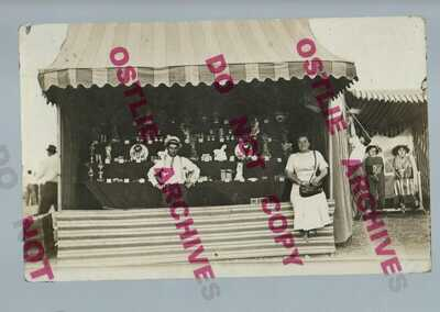 RPPC c1910 CARNIVAL GAME Circus Fair MIDWAY Shooting Gallery? Ball Toss? CARNY