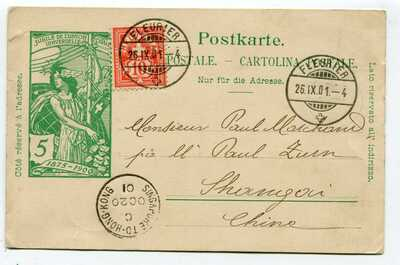 Switzerland uprated Postcard Fleurier to Shanghai China 26.IX.01 - see scans