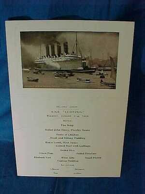Orig 1909 RMS LUSITANIA Cunard Lines 8/31 DINNER MENU 2nd Cabin Also a POSTCARD
