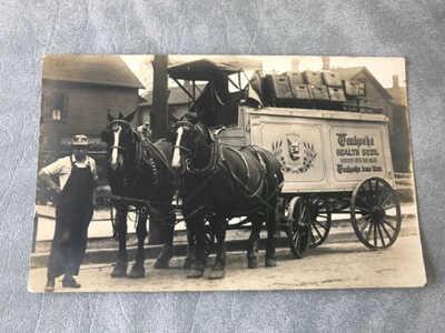 1915 RPPC Waukesha Health Beer Fox Head Postcard & Coaster