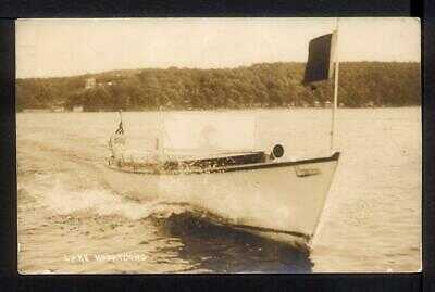 1912 Landing NJ POWER BOAT ON LAKE HOPATCONG Postcard RPPC Harris Photo