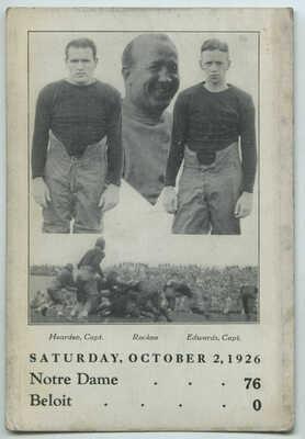 Oct 2 1926 Knute Rockne & Football Players Notre Dame vs Beloit 76 to 0 Postcard