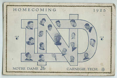Homecoming 1925 Knute Rockne & College Football Players Notre Dame vs Carnegie