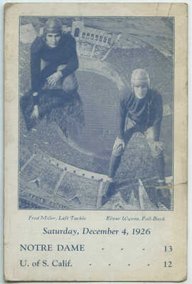 1926 College Football Players Notre Dame vs USC Game Postcard