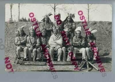 RPPC 1912 INDIAN BASEBALL TEAM Green's Nebraska Indians SENT BY PLAYER Game Info