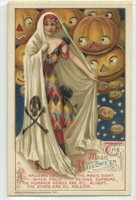 Original Vintage 1910s WISCH Halloween postcard elegant LADY JACK O' LANTERNS