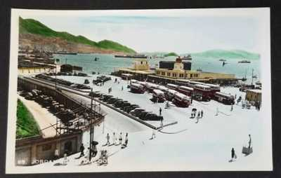 1940's Hong Kong Hand Tinted Real Photo Postcard RPPC-Jordan Rd Terminal Kowloon