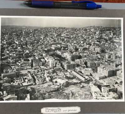 Lebanon Vintage 1930s Beyrouth Two Photo Of Beirut, Hotel, Center On Thick Card
